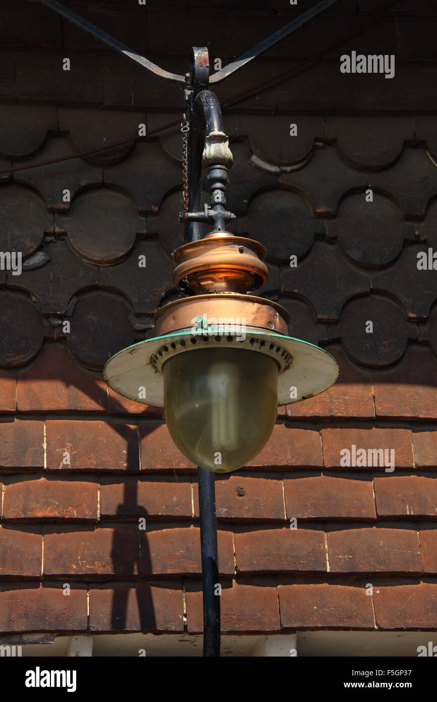 A Gas Lamp At An Old Railway Station With The Original Gas
