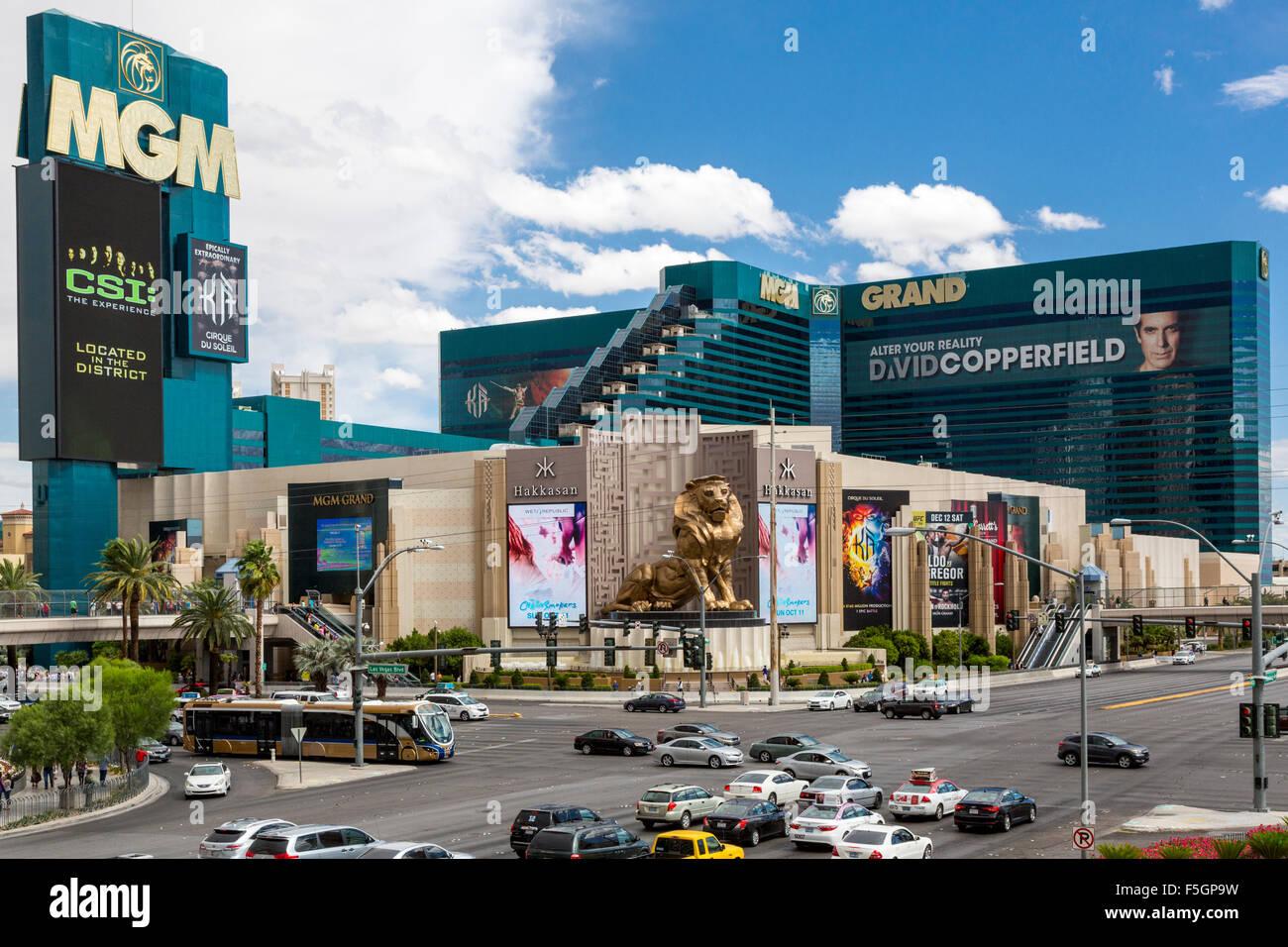 Las Vegas, Nevada.  MGM Grand Hotel and Casino, Corner of South Las Vegas Boulevard and Tropicana Avenue. - Stock Image