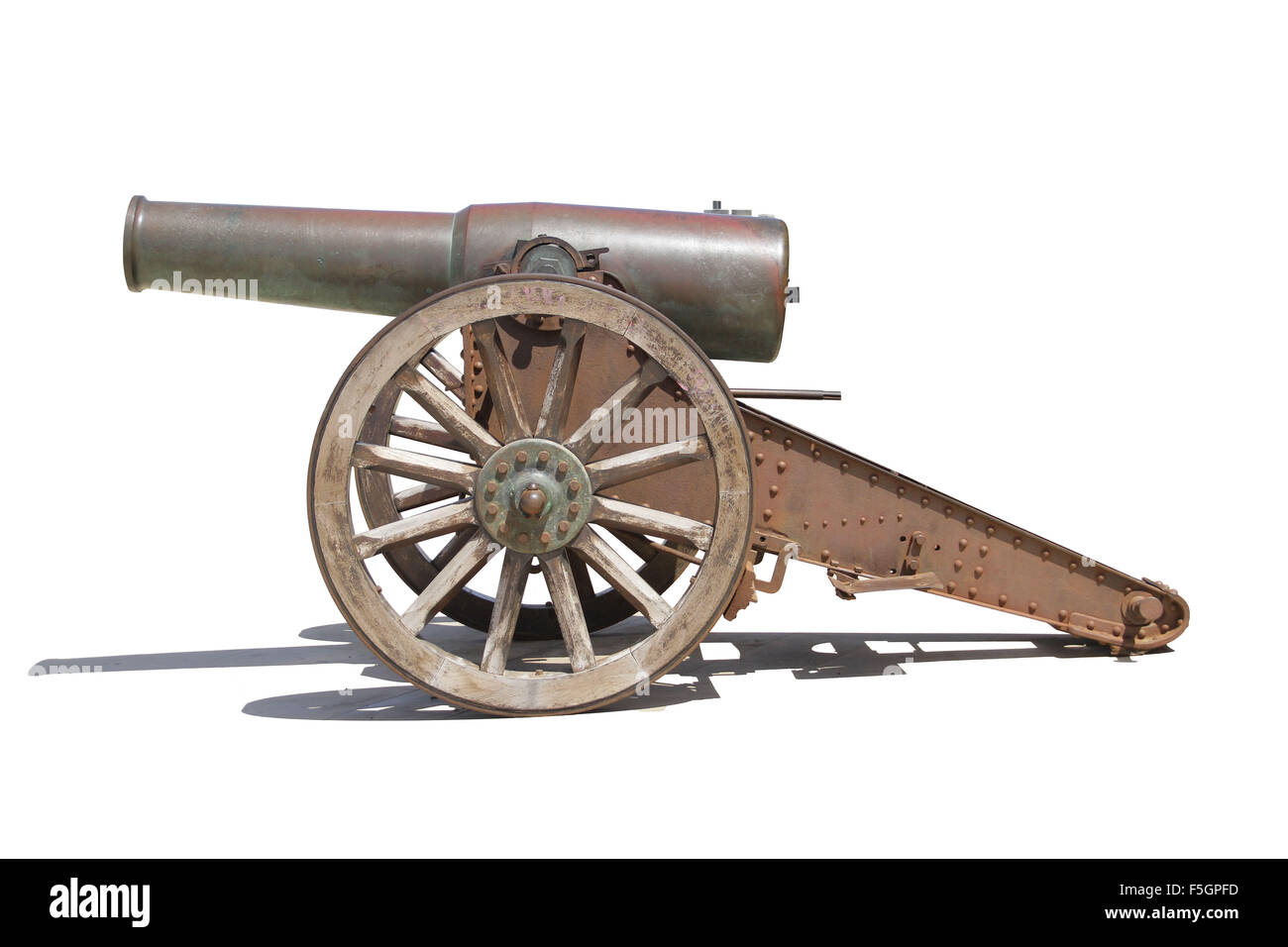 Old iron Spanish war canon with a carriage. - Stock Image