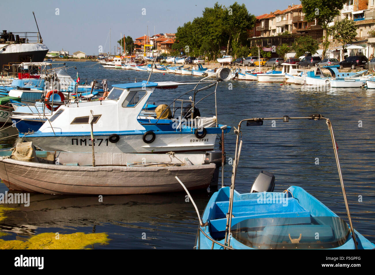 A picture or image of river boat or sea boat moorings. - Stock Image