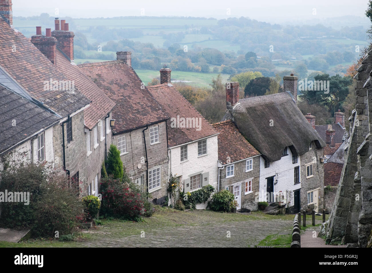 Shaftesbury,Dorset,Gold,Hill,England,Town,Hall, - Stock Image