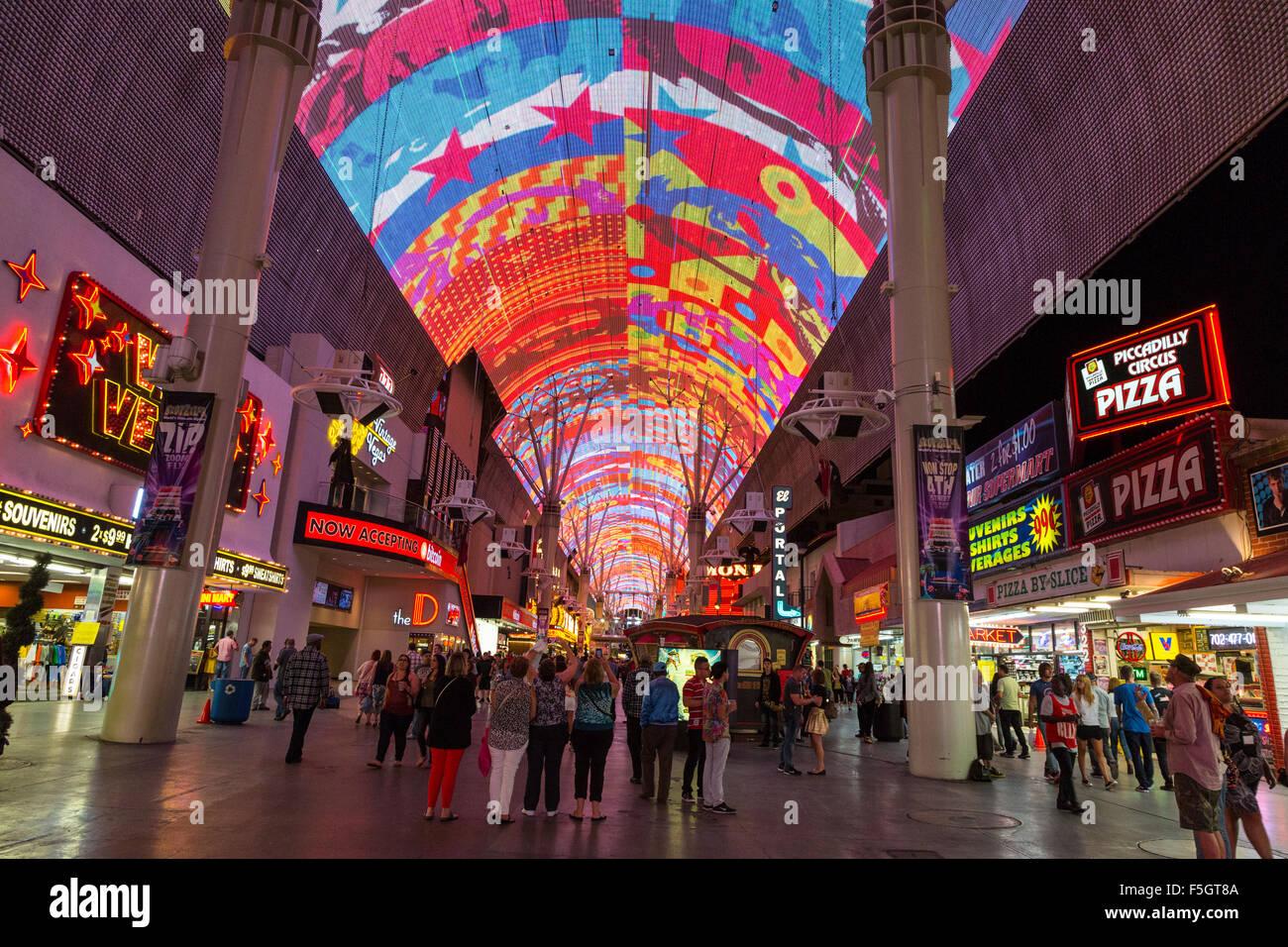 Las Vegas, Nevada. Fremont Street Experience Light Show.
