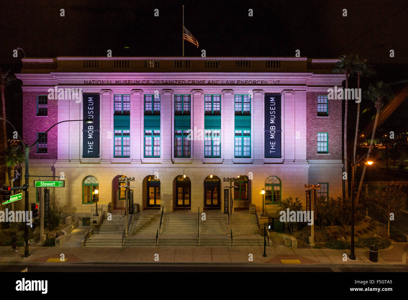 Las Vegas, Nevada.  National Museum of Organized Crime and Law Enforcement,  The Mob Museum, formerly the Federal Stock Photo