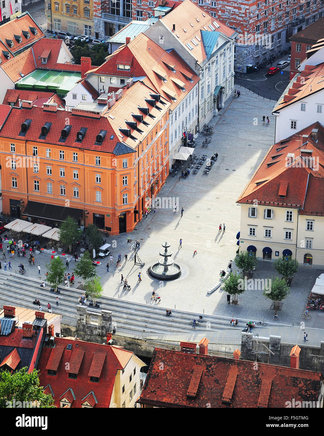 Top view of colorful Ljubljana Old Town. Slovenia - Stock Image