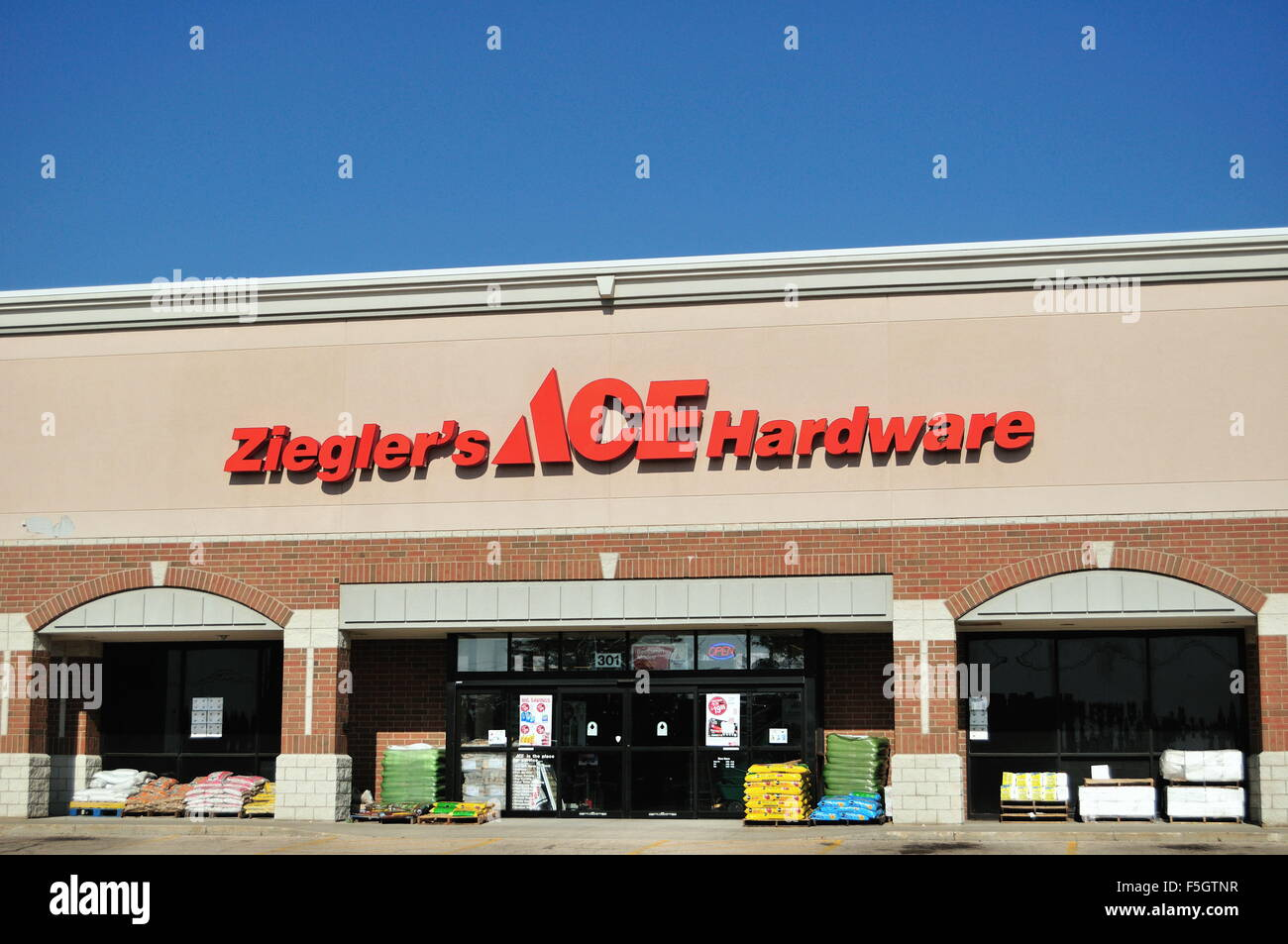 An Ace Hardware franchise store in a strip mall in South Elgin, Illinois, USA. - Stock Image
