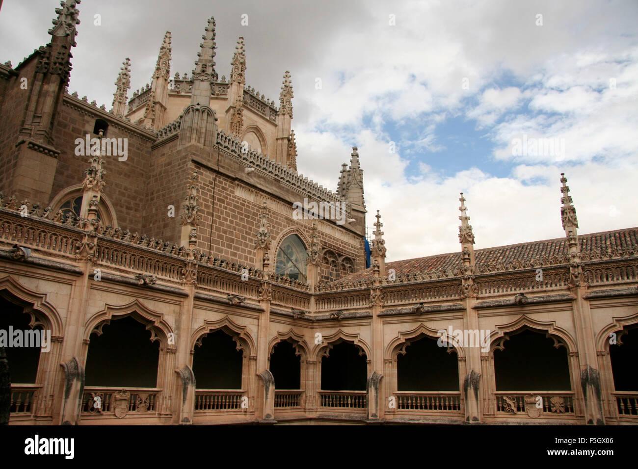 Gothic atrium of Monastery of Saint John of the Kings, Toledo, Spain - Stock Image