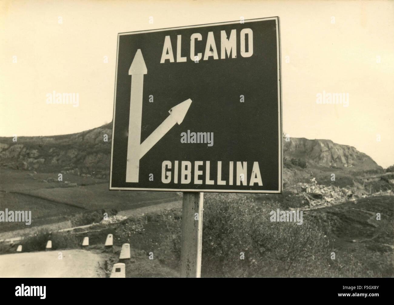 Belice earthquake of January 1968 : Crossroad Alcamo - Gibellina - Stock Image