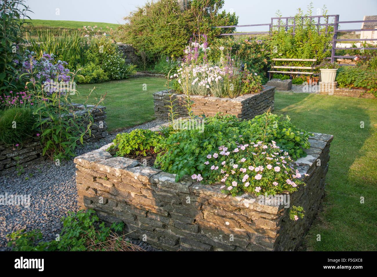 Image of: Raised Flower Beds With Stone Borders Ireland Stock Photo Alamy