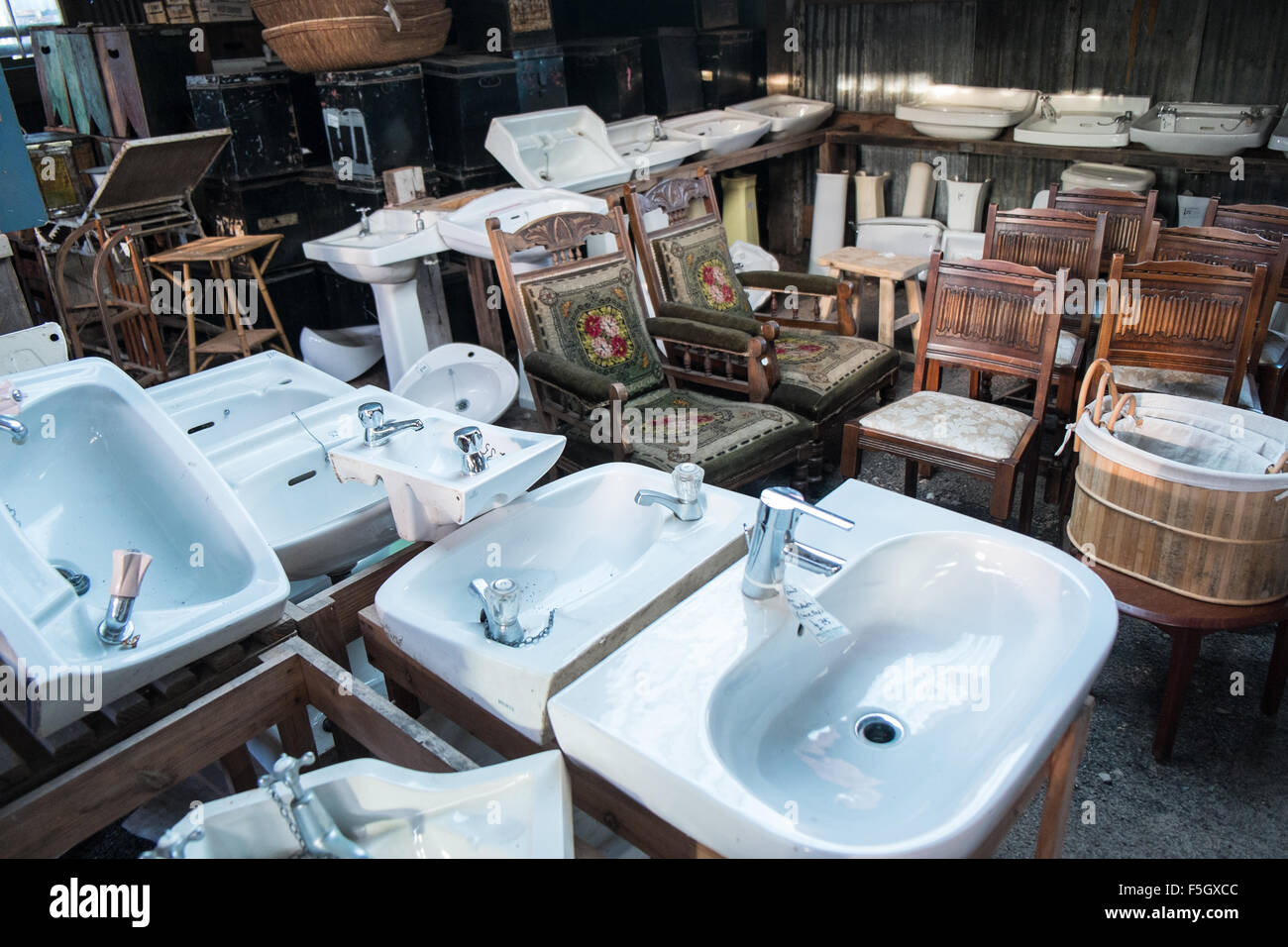 Sinks.Wells,Reclamation,yard,recycling,Somerset,England,   Stock