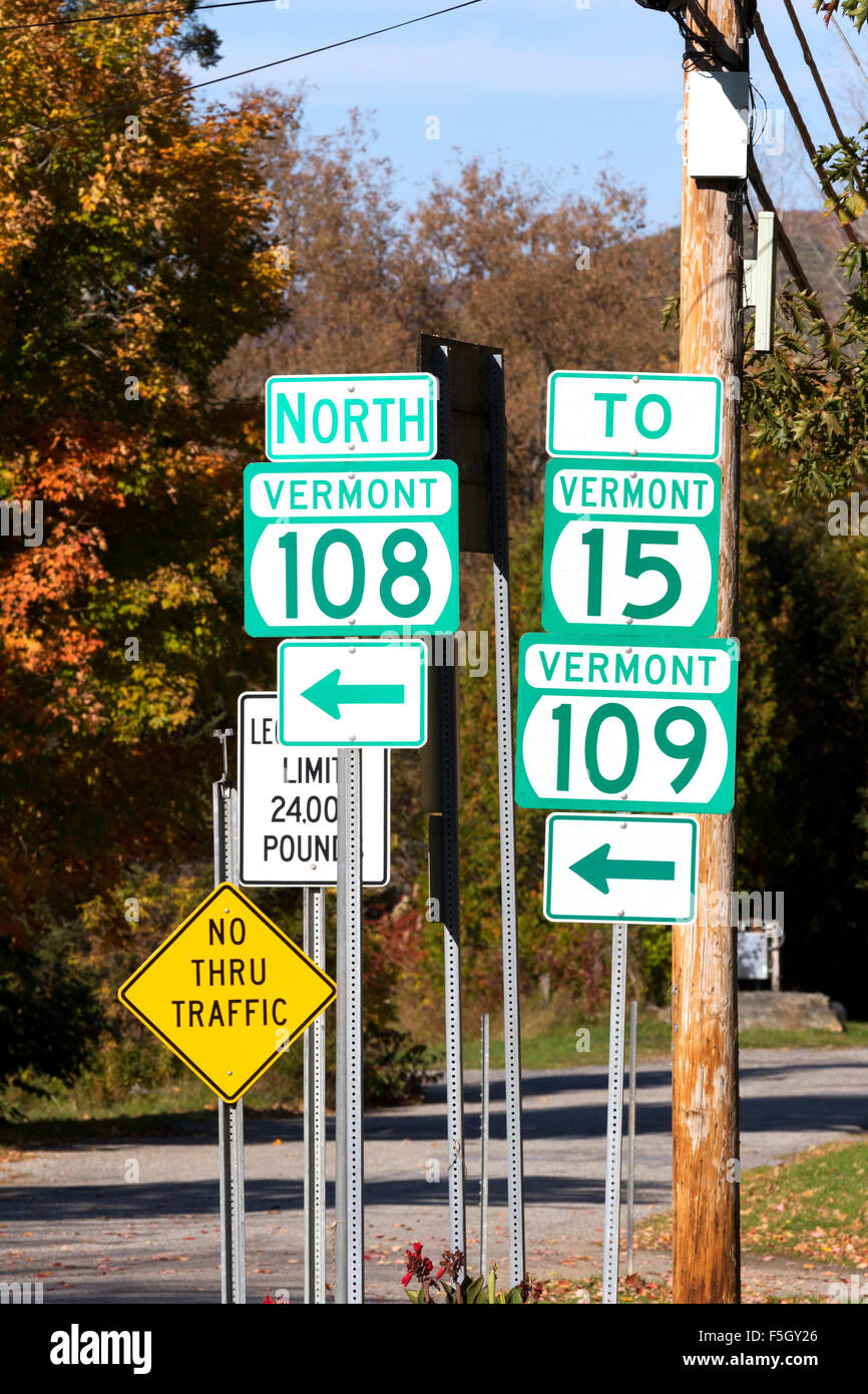 USA road signs, Stowe, Vermont VT United States of America - Stock Image