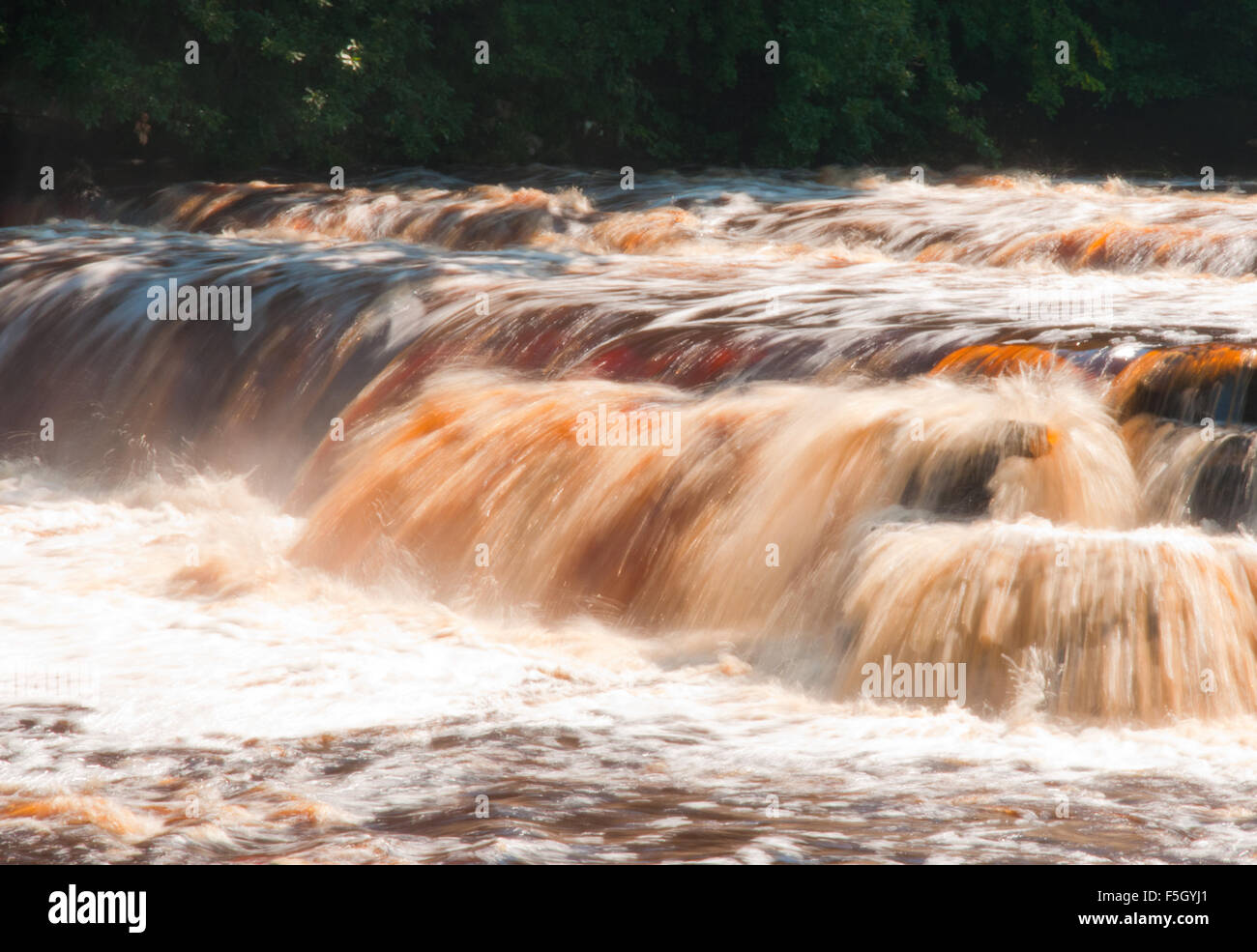 Water gushing over Richmond Falls, Richmond, Yorkshire - Stock Image