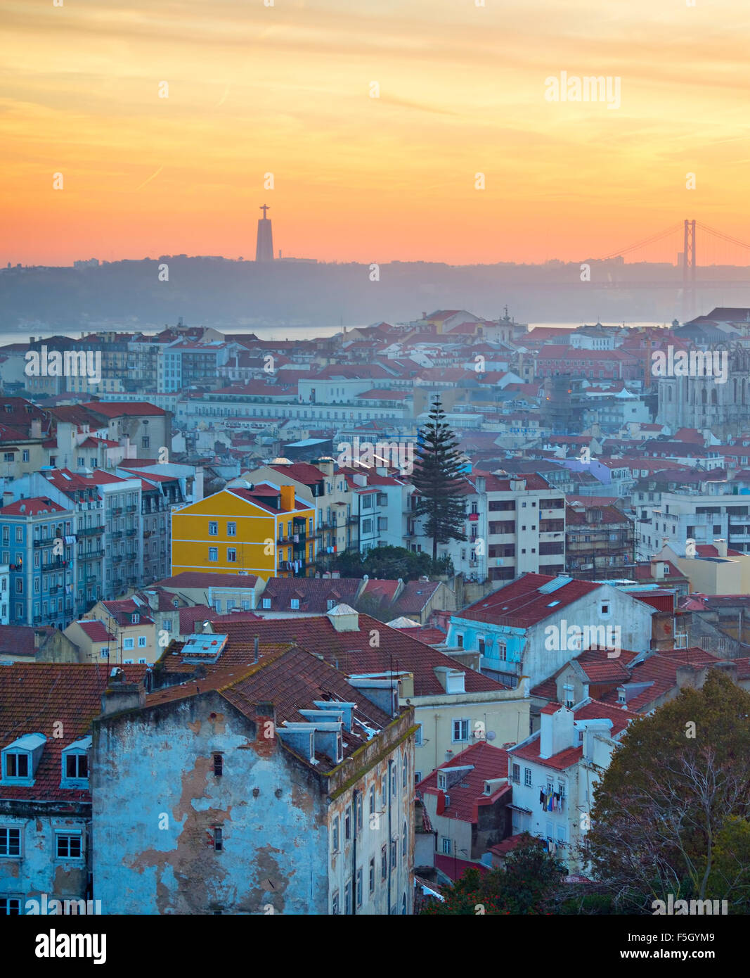 Lisbon Old Town at colorful sunset. Top view. Portugal - Stock Image