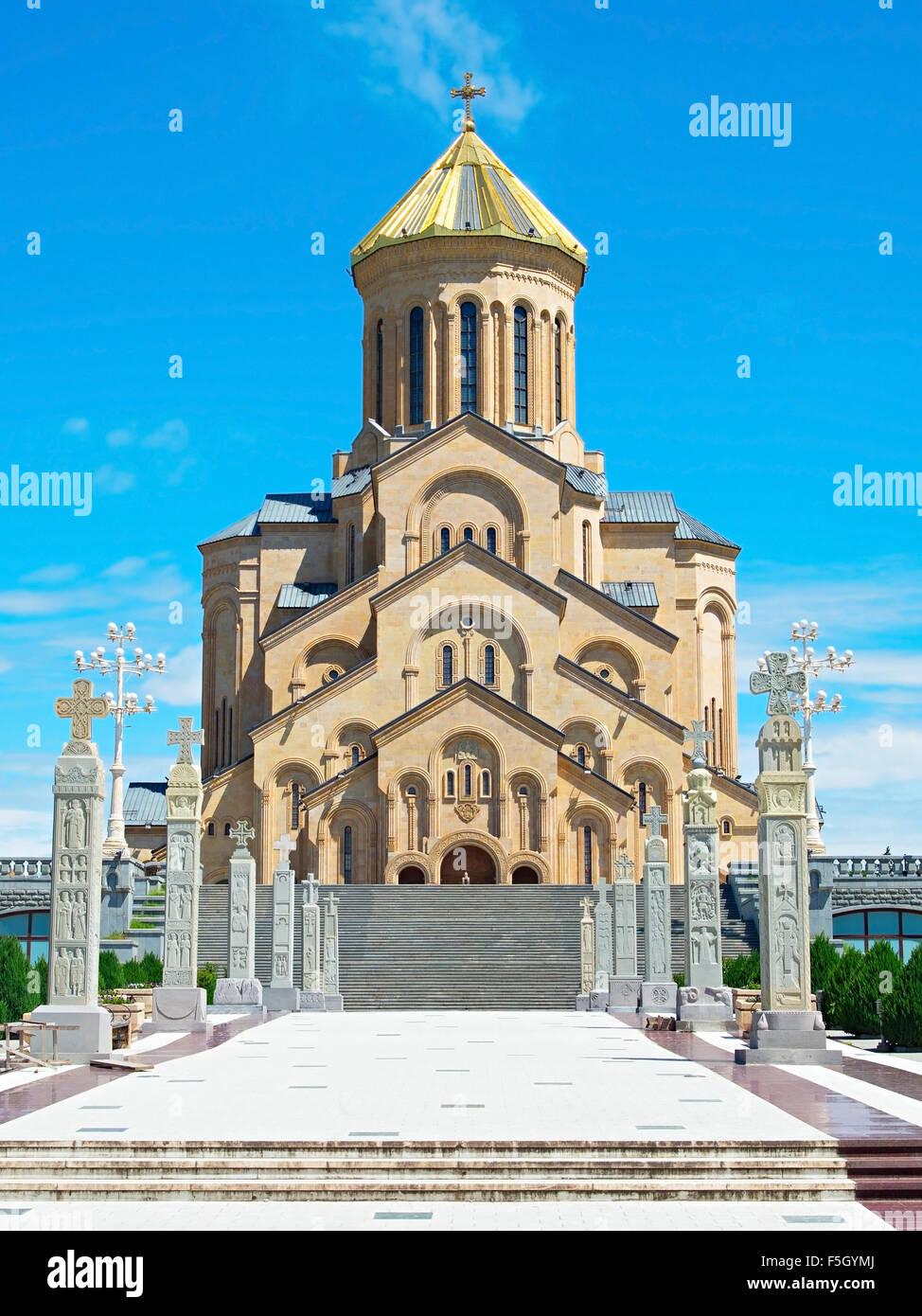 Famous Sameba church in the sunny day. Tbilisi, Georgia Stock Photo