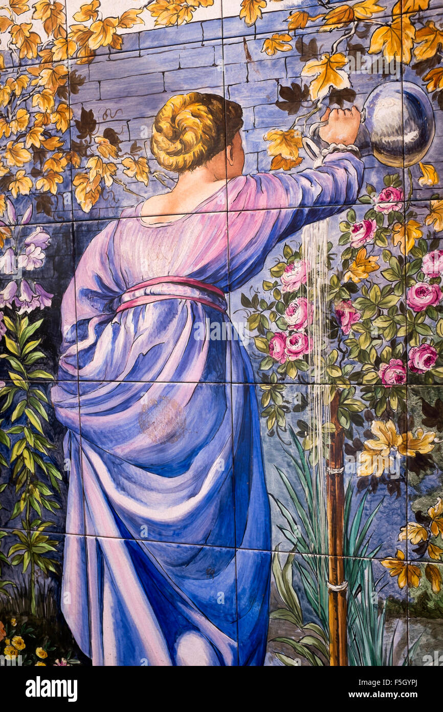 Painted Decorative Wall Tiles on Exterior of Bar in Madrid Spain - Stock Image