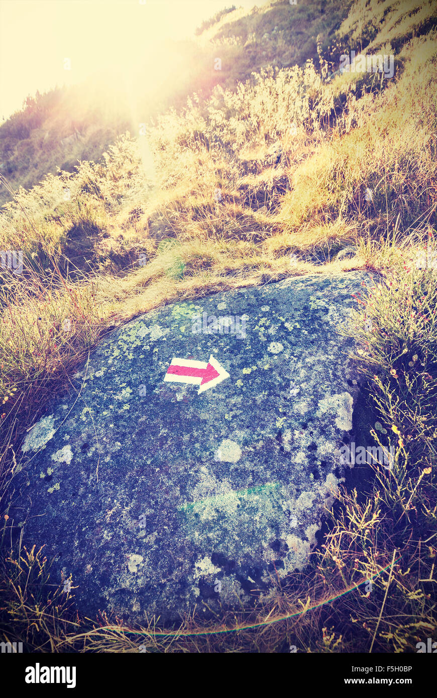 Retro stylized trail arrow sign against sunset with lens flare effect. - Stock Image