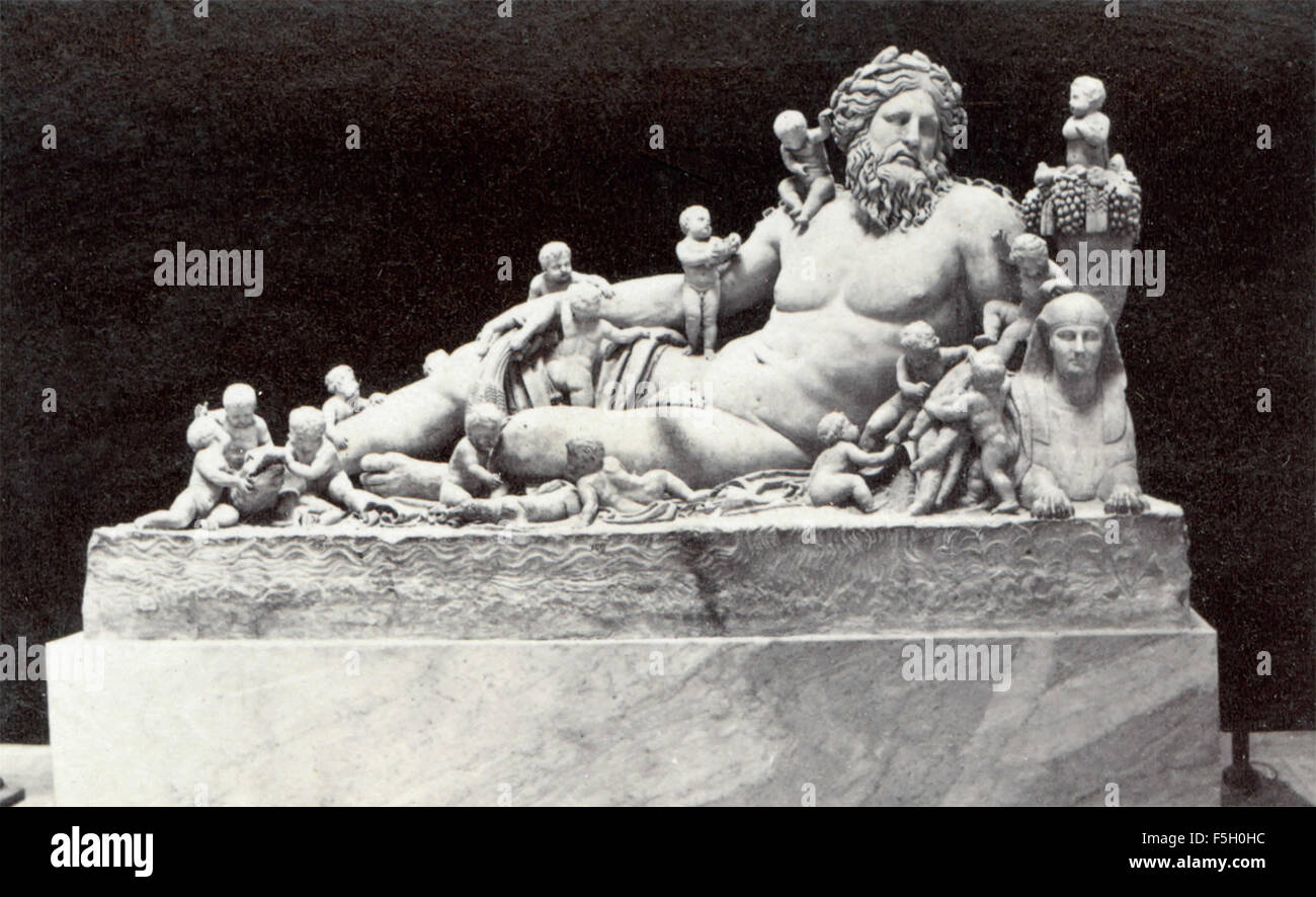 Nile with 12 Cupids, sculpture, Vatican Museums - Stock Image