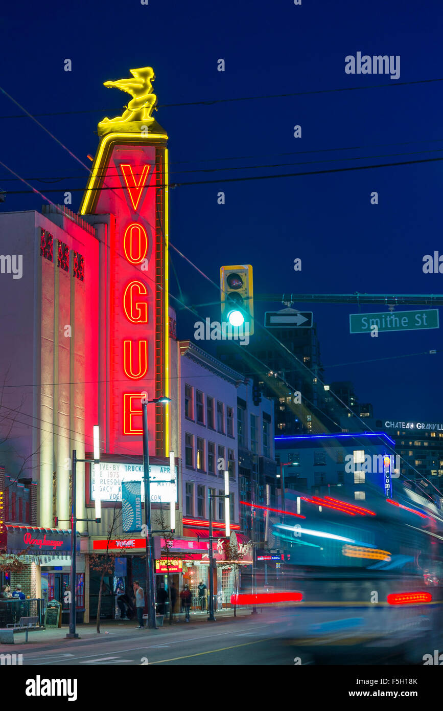 The Vogue Theatre neon sign on Granville street at night, downtown, Vancouver, British Columbia, Canada - Stock Image