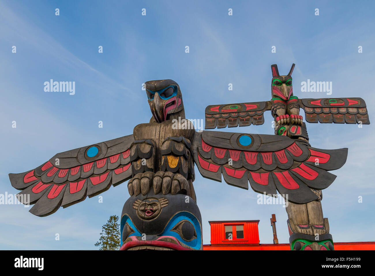 First nations totem poles, Duncan, (City of Totems) British Columbia, Canada - Stock Image