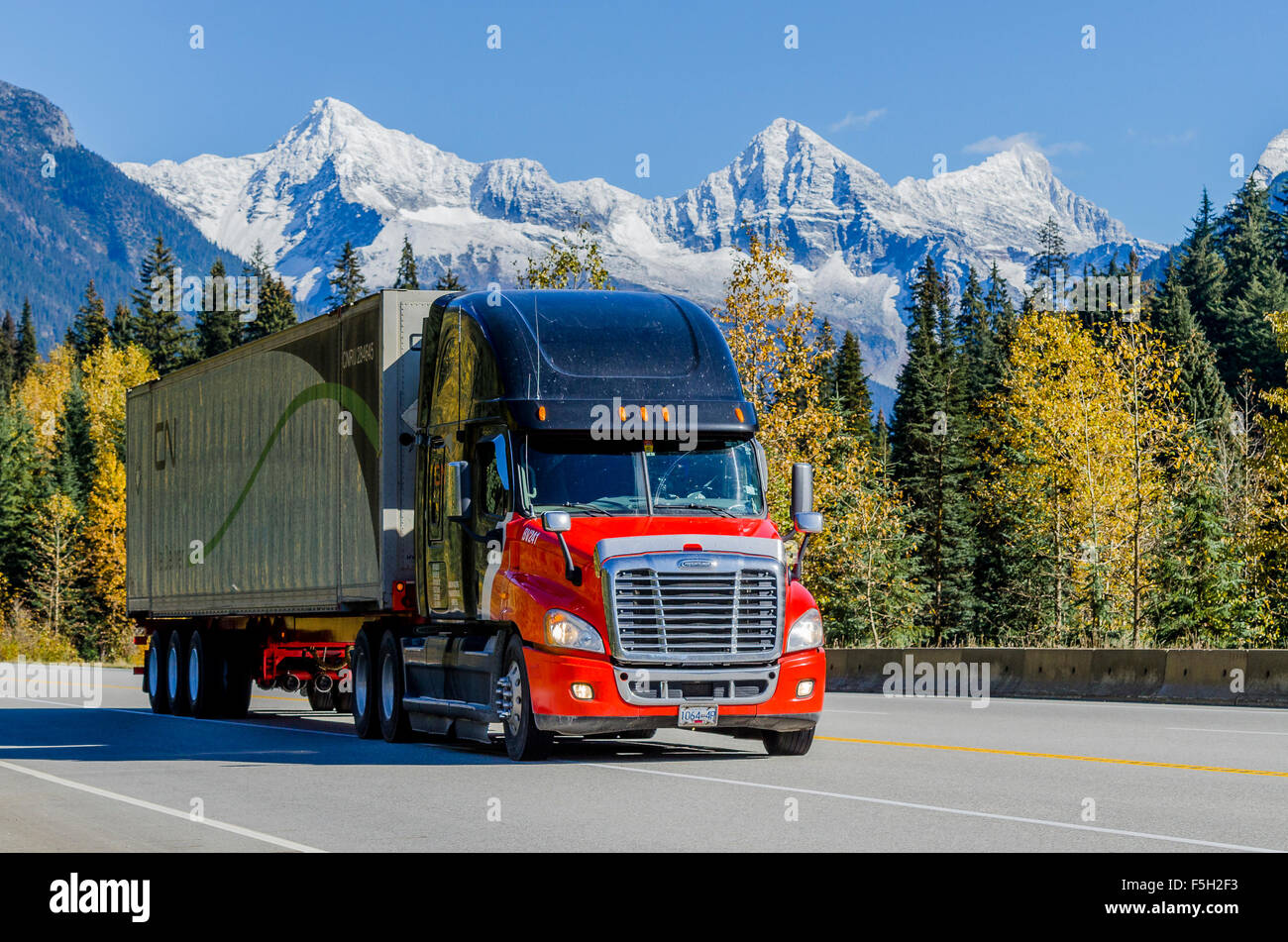 Truck on Trans Canada Highway near Rogers Pass, British Columbia, Canada - Stock Image