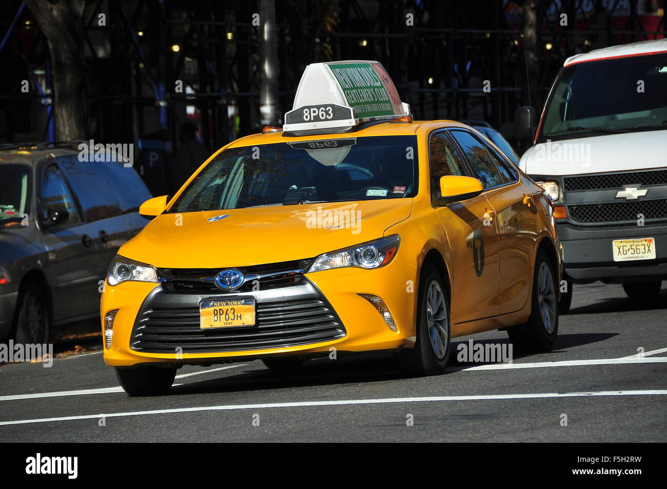 New York City: A Toyota yellow Medallion Taxi on Broadway in