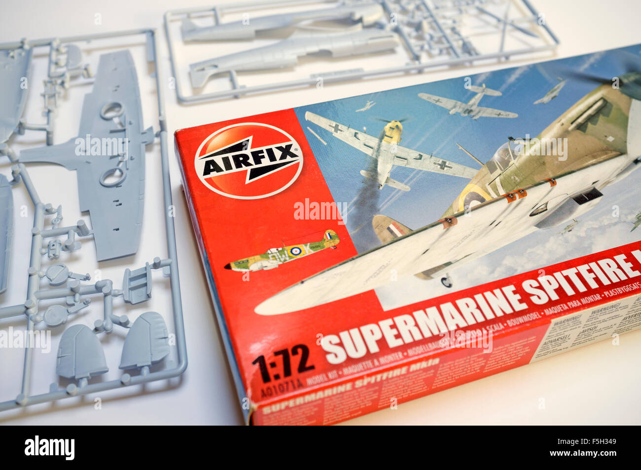 Airfix 1:72 scale Supermarine Spitfire Mk1a 70th Battle of Britain anniversary model - Stock Image