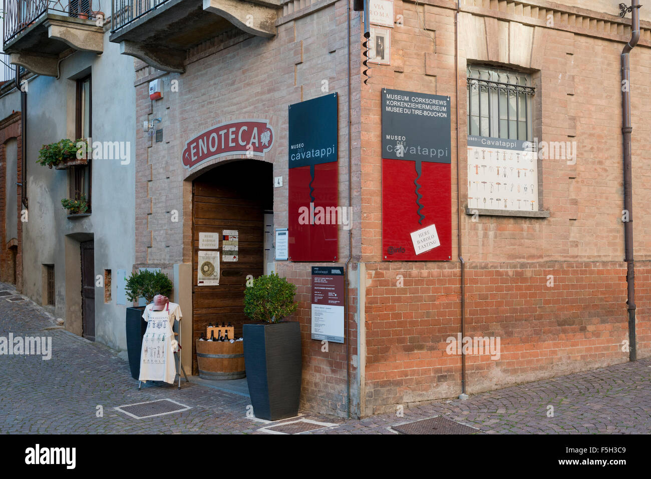 Piedmont, Italy, Langhe-Roero and Monferrato in the  UNESCO World Heritage List.The corkscrews museum in Barolo - Stock Image