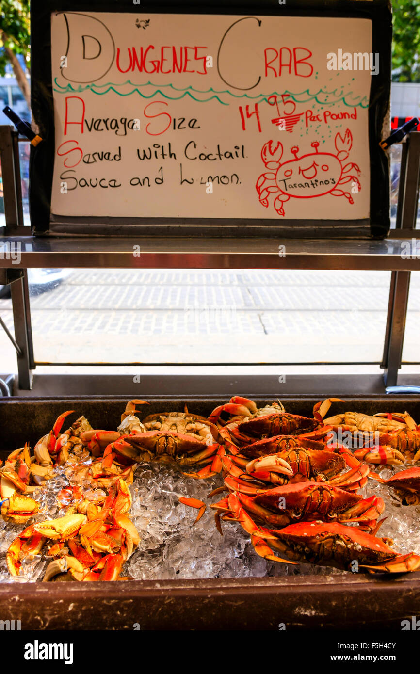 Dungeness Crabs on sale at Fisherman's Wharf in San Francisco CA - Stock Image