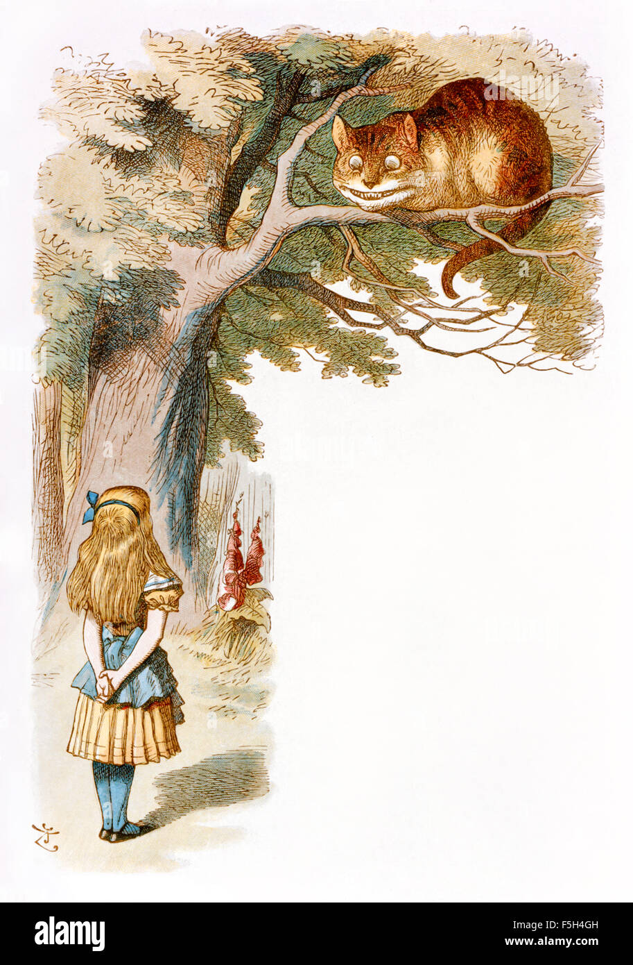"The Cheshire cat grinned, from 'The Nursery ""Alice'', an shortened adaptation of 'Alice's Adventures - Stock Image"