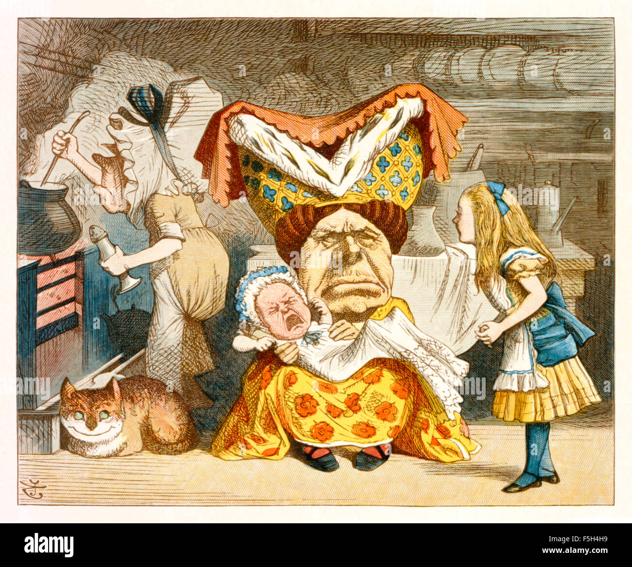 "The Duchess with the Pig-Baby from 'The Nursery ""Alice'', an shortened adaptation of 'Alice's Adventures - Stock Image"