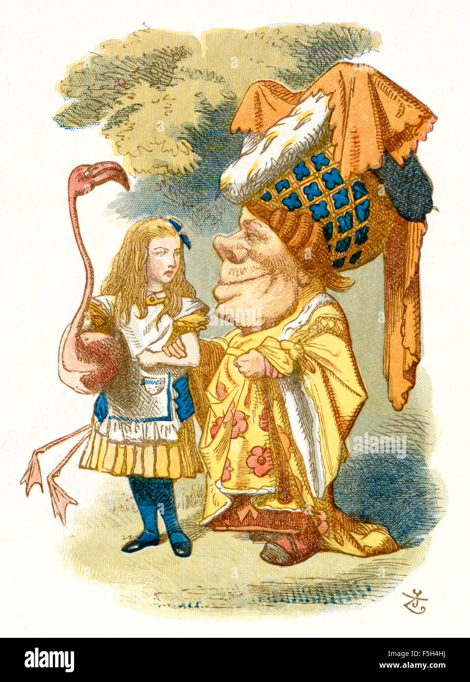 "The Duchess and Alice about to play Croquet, from 'The Nursery ""Alice'', an shortened adaptation of - Stock Image"