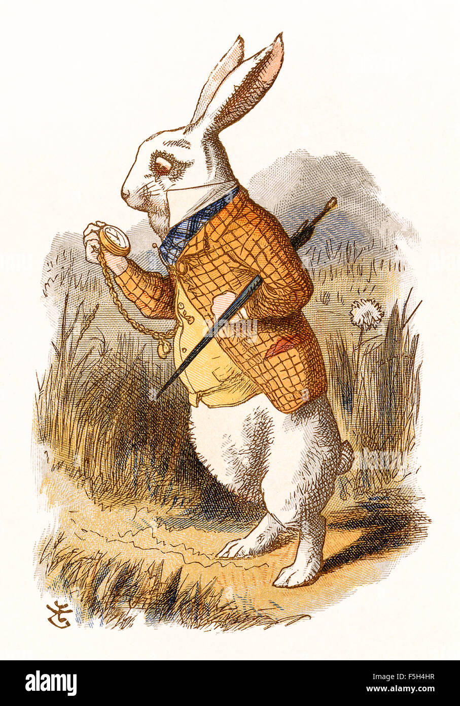 The White Rabbit Checks His Pocket Watch From The Nursery Alice