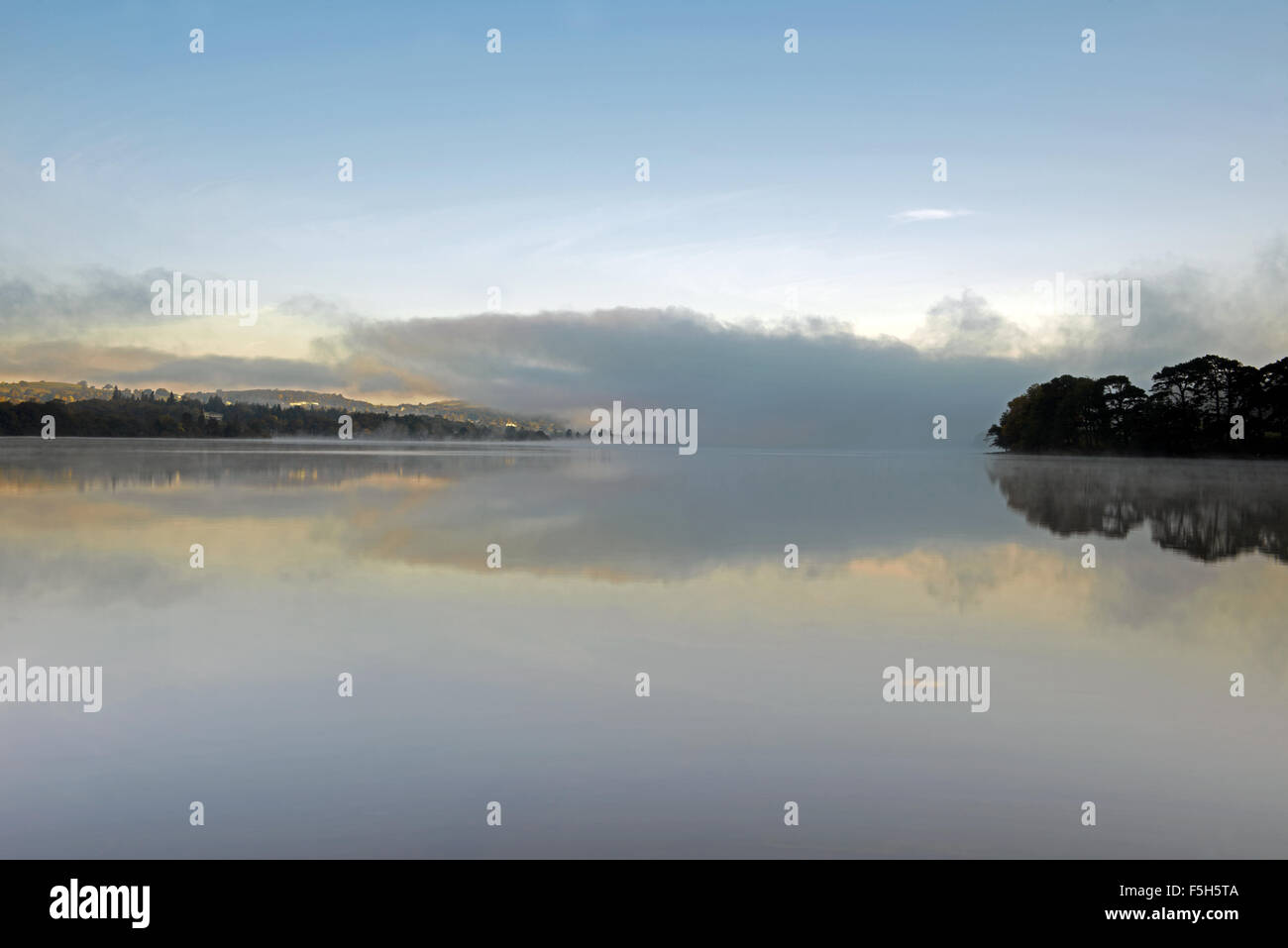 Sunrise on Ullswater Lake, taken  from Howtown, Lake District, Cumbria, England, Uk, Gb. - Stock Image