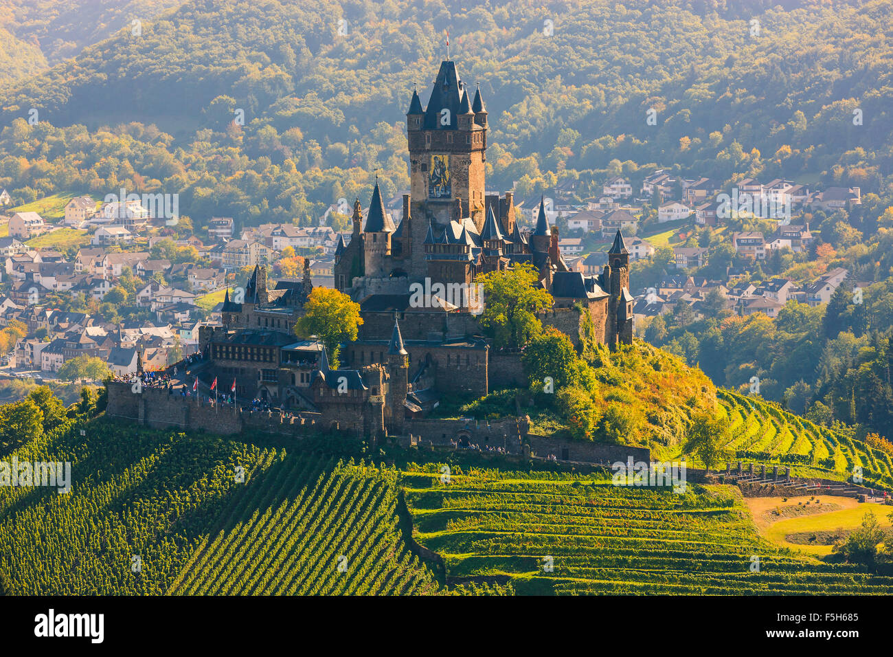 Reichsburg Cochem Castle is more than a castle. It is the largest hill-castle on the Mosel, Germany. - Stock Image