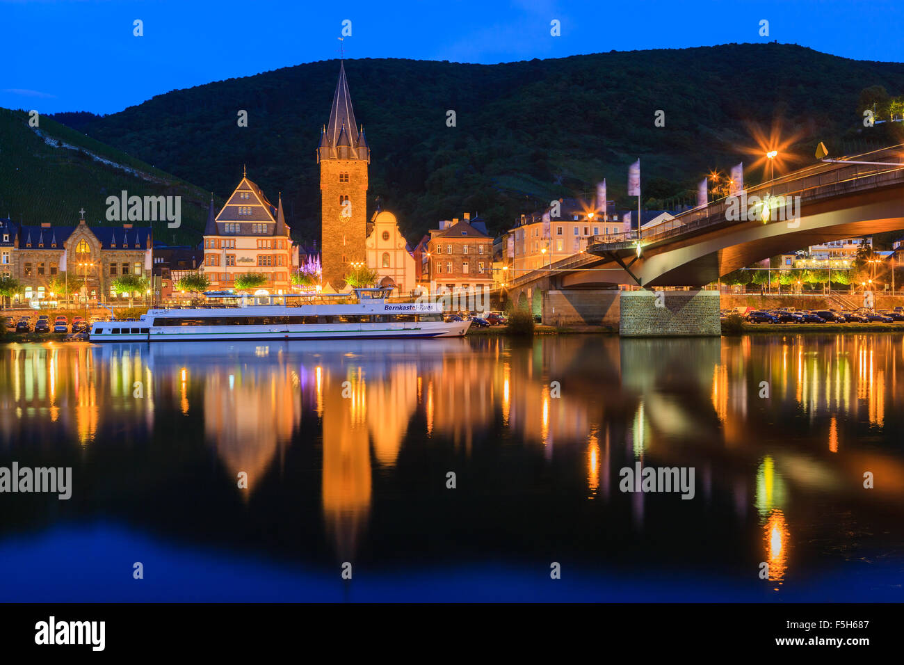 Bernkastel-Kues is a well-known winegrowing centre on the Middle Moselle in the Bernkastel-Wittlich district in Stock Photo