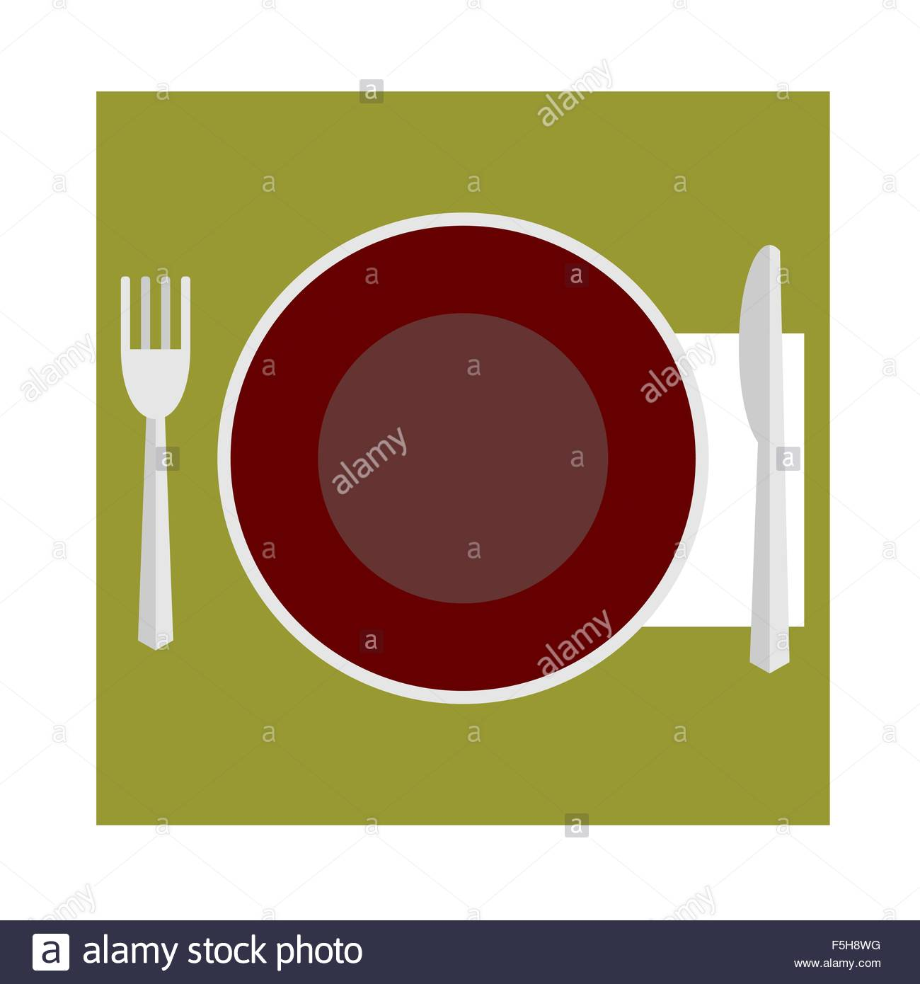 Cutlery etiquette at the table  Flat vector icon Stock Vector Art