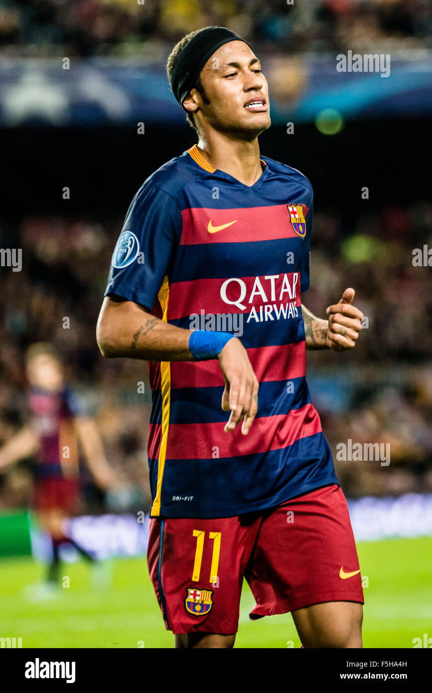 Barcelona, Spain. 4th November, 2015. FC Barcelona's forward NEYMAR JR.during the Champions League match between - Stock Image