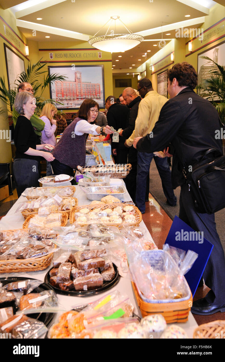 Japan Earthquake and Tsunami Relief Bake and Used Book Sale held by employees of Encyclopaedia Britannica in Chicago, - Stock Image