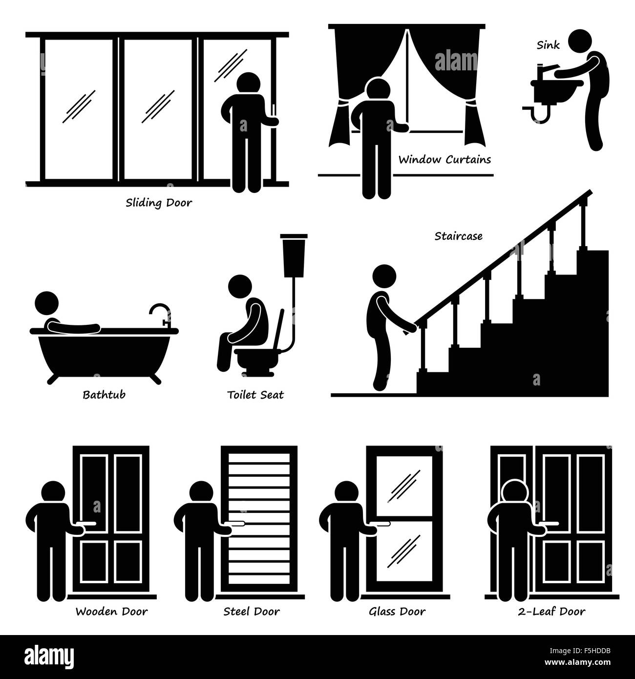 Home House Indoor Fixtures Stick Figure Pictogram Icon Cliparts - Stock Image