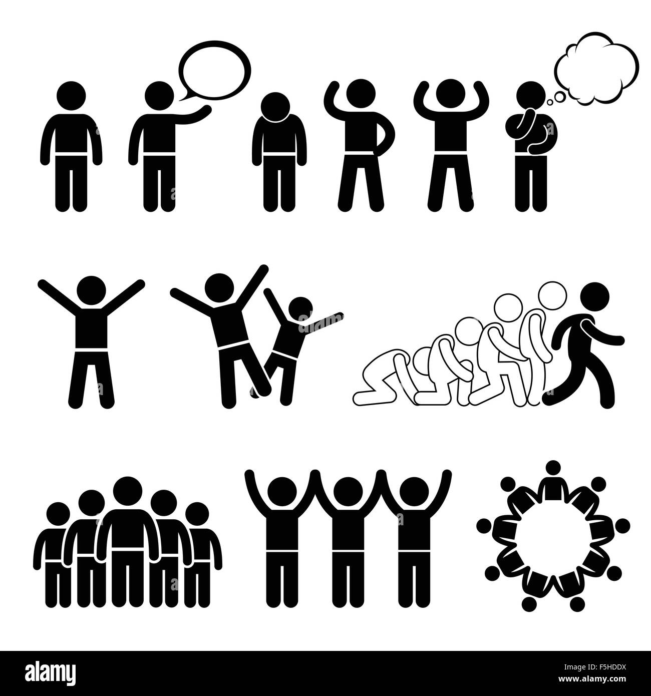 Children Action Pose Welfare Rights Stick Figure Pictogram Icon Cliparts - Stock Image