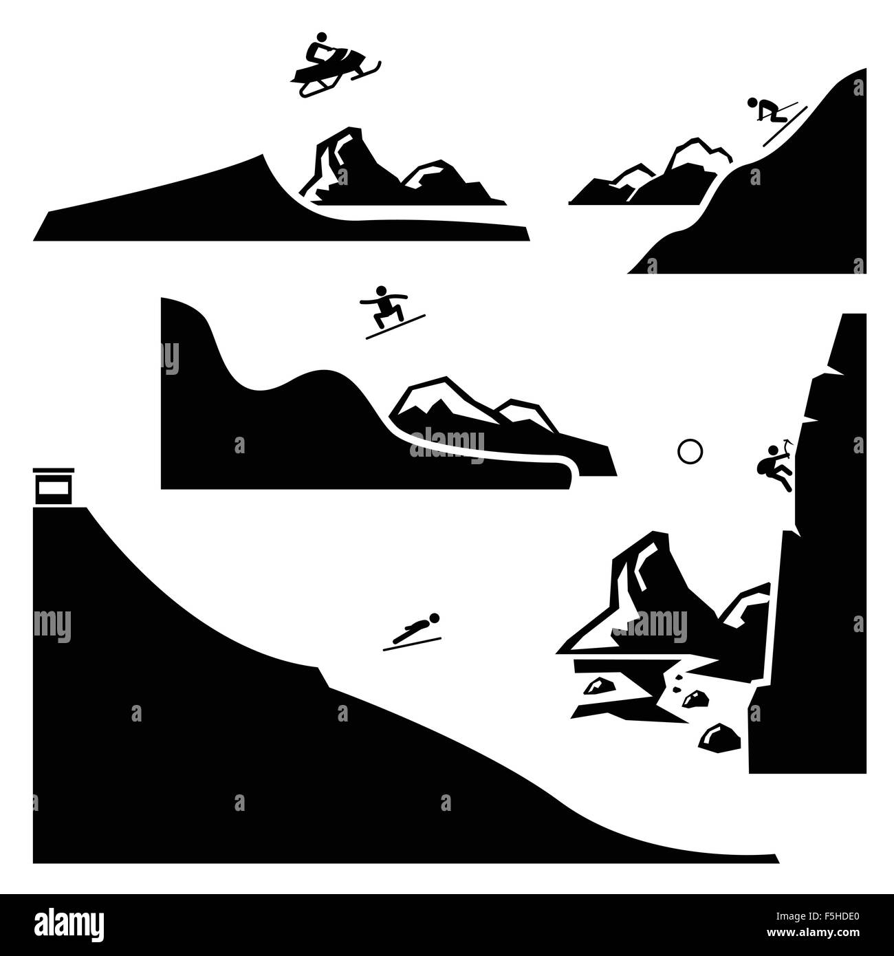 Extreme Sports - Snowmobiling, Skiing, Snowboarding, Ski Flying, Ice Climbing - Stick Figure Pictogram Icons Cliparts - Stock Image
