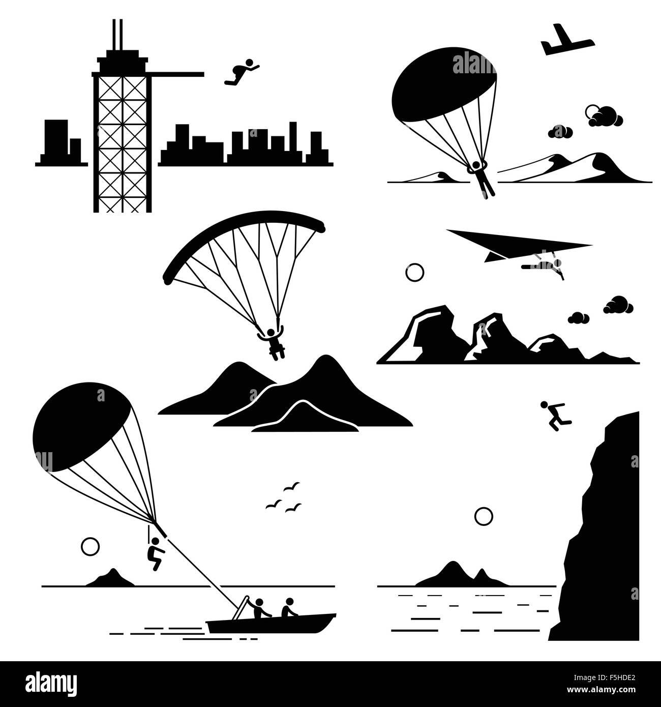 Extreme Sports - Base Jumping, Parachuting, Paragliding, Hang Gliding, Parasailing, Cliff Jump - Stick Figure Pictogram - Stock Image