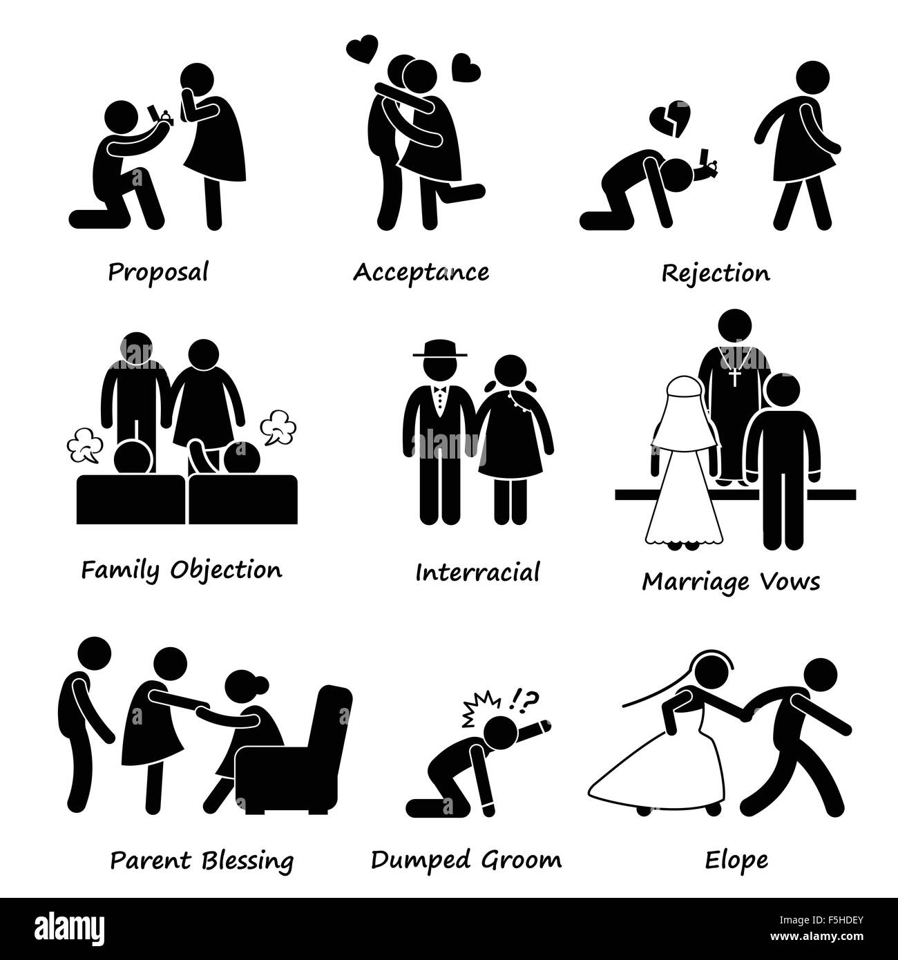 Love Couple Marriage Problem difficulty Stick Figure Pictogram Icon Cliparts - Stock Vector