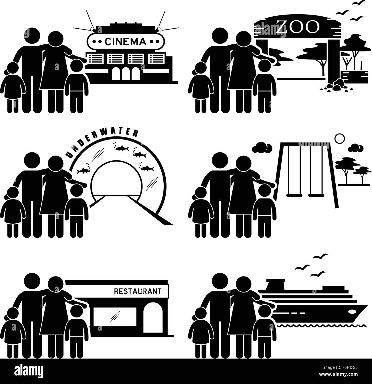 Family Outing Activities - Cinema, Zoo, Underwater Theme Park, Playground, Restaurant Dining, Holiday Cruise Ship - Stock Vector