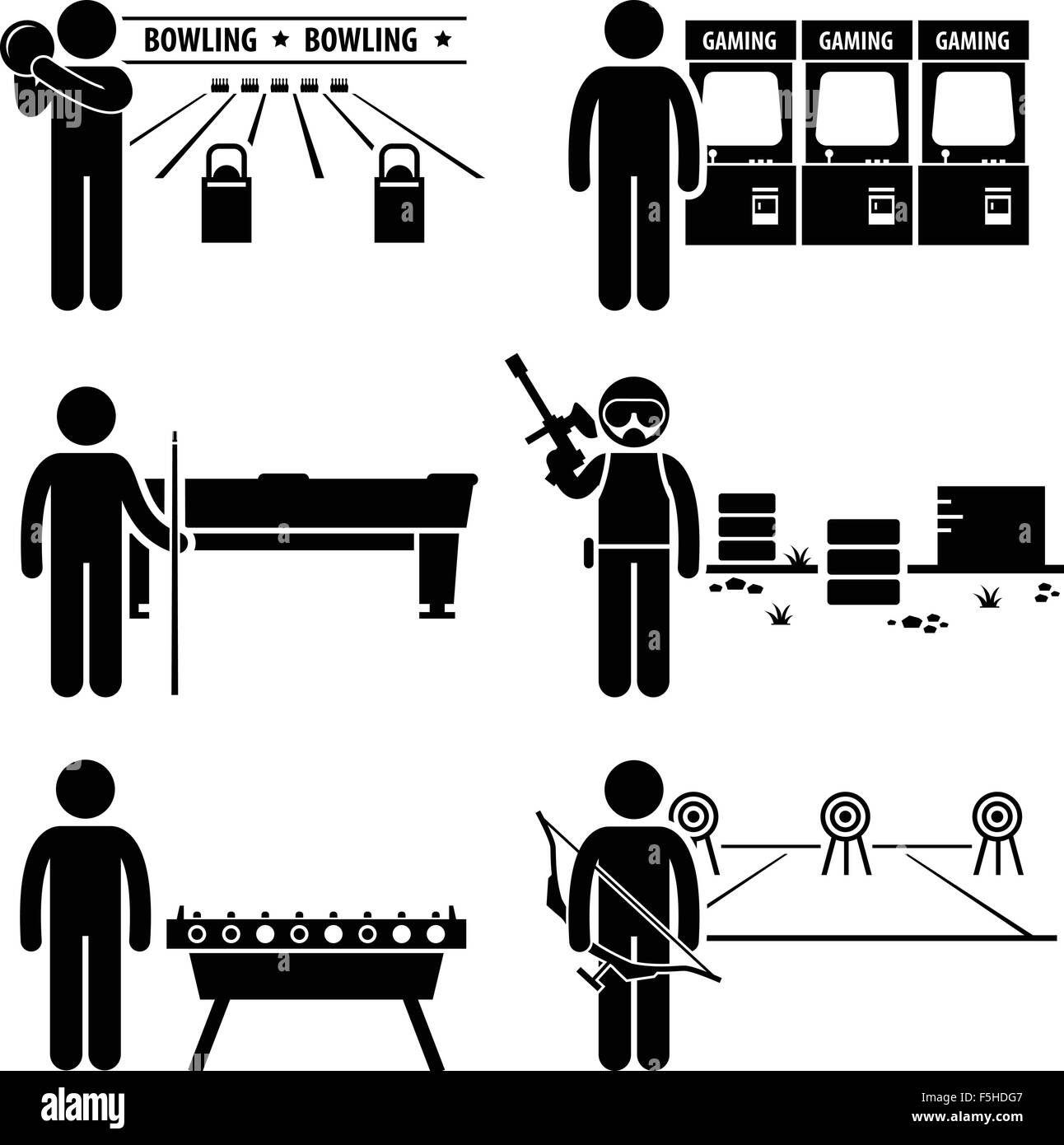 Recreational Leisure Games - Bowling, Arcade Center, Pool, Paintball, Soccer Table, Archery - Stick Figure Pictogram - Stock Image