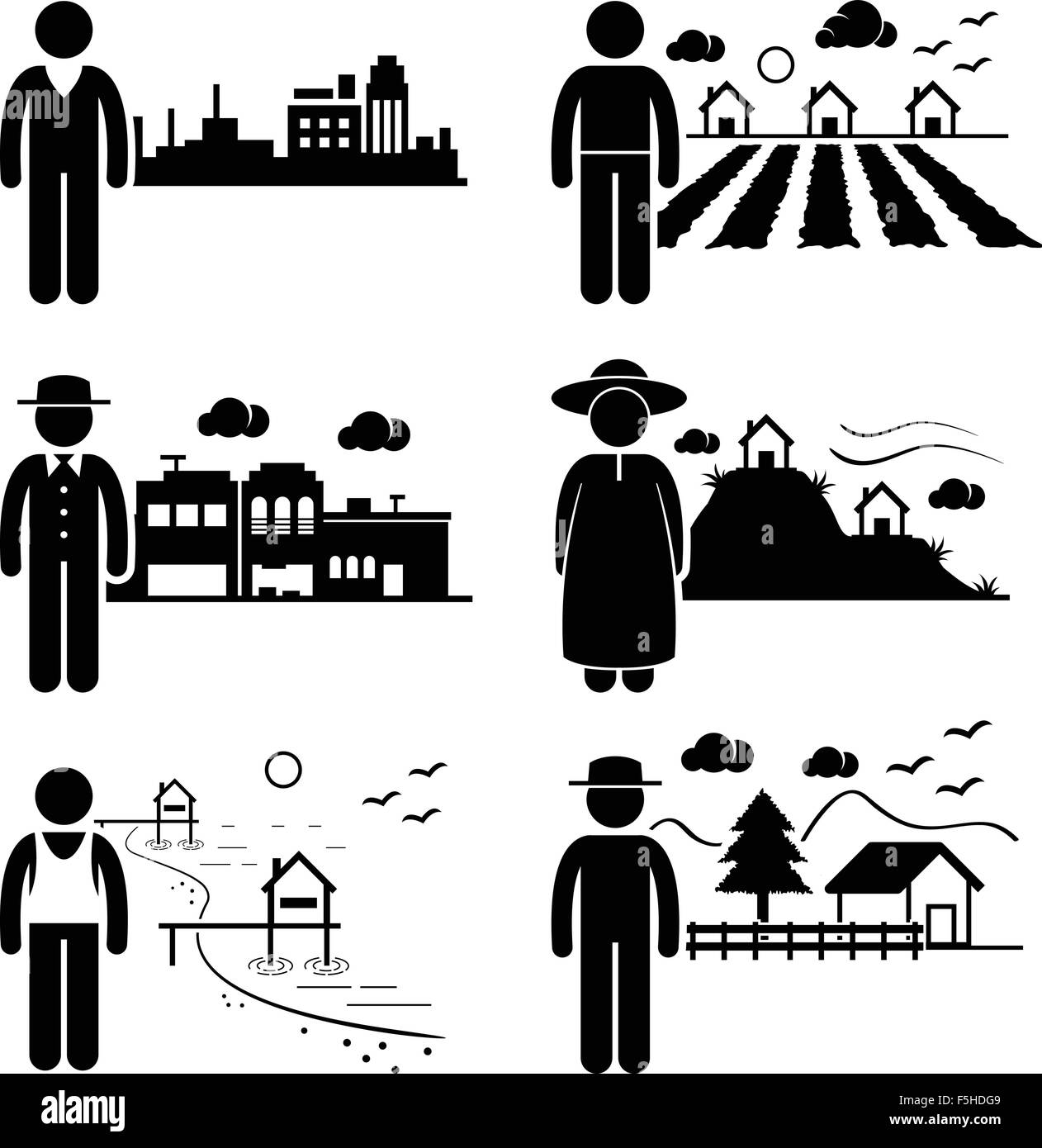 People in City Cottage House Small Town Highlands Seaside Village Home Stick Figure Pictogram Icon - Stock Vector