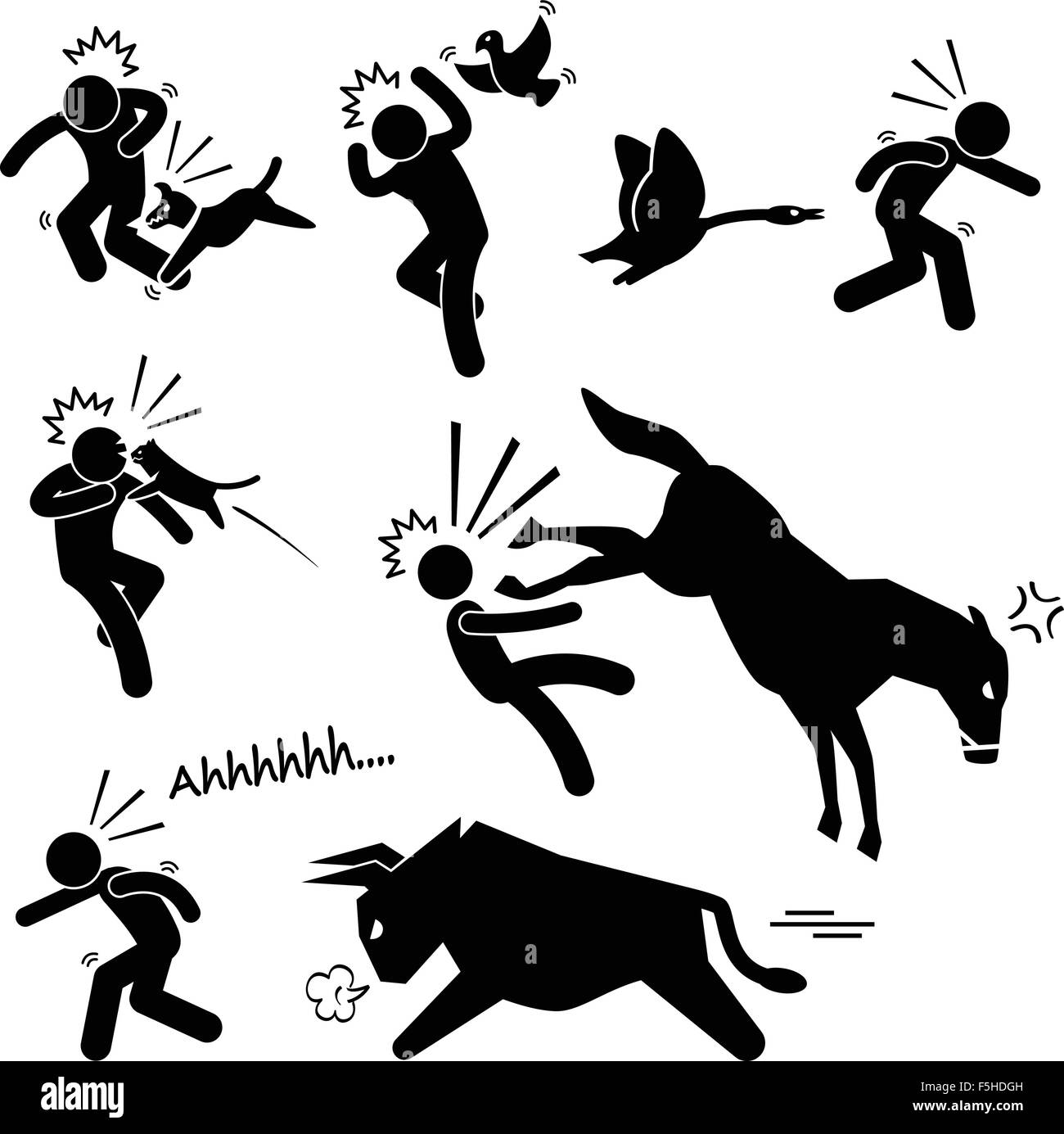 Domestic Animal Attacking Hurting Human Stick Figure Pictogram Icon - Stock Vector