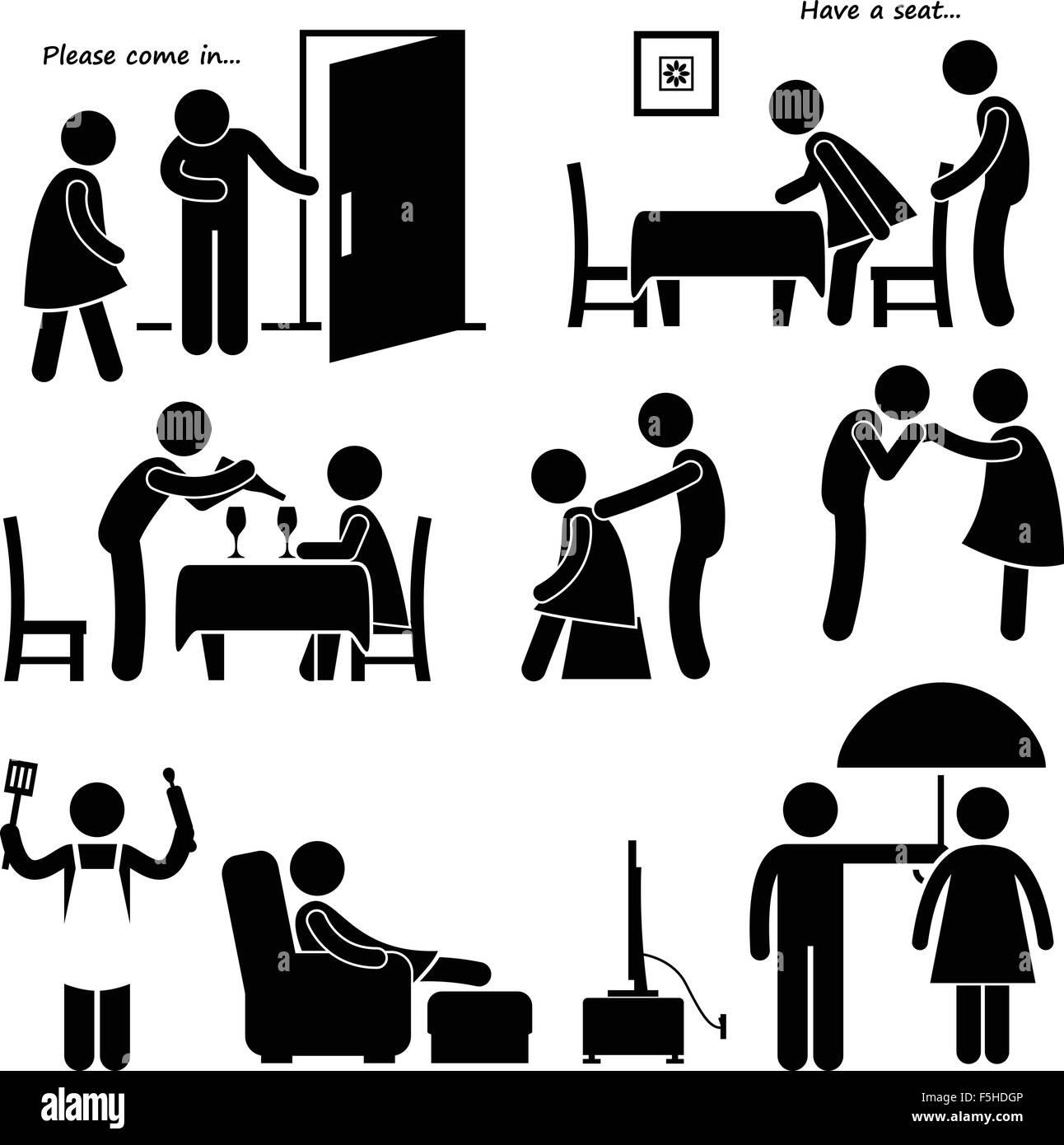 Gentleman Courteous Man Boyfriend Husband Stick Figure Pictogram Icon - Stock Image