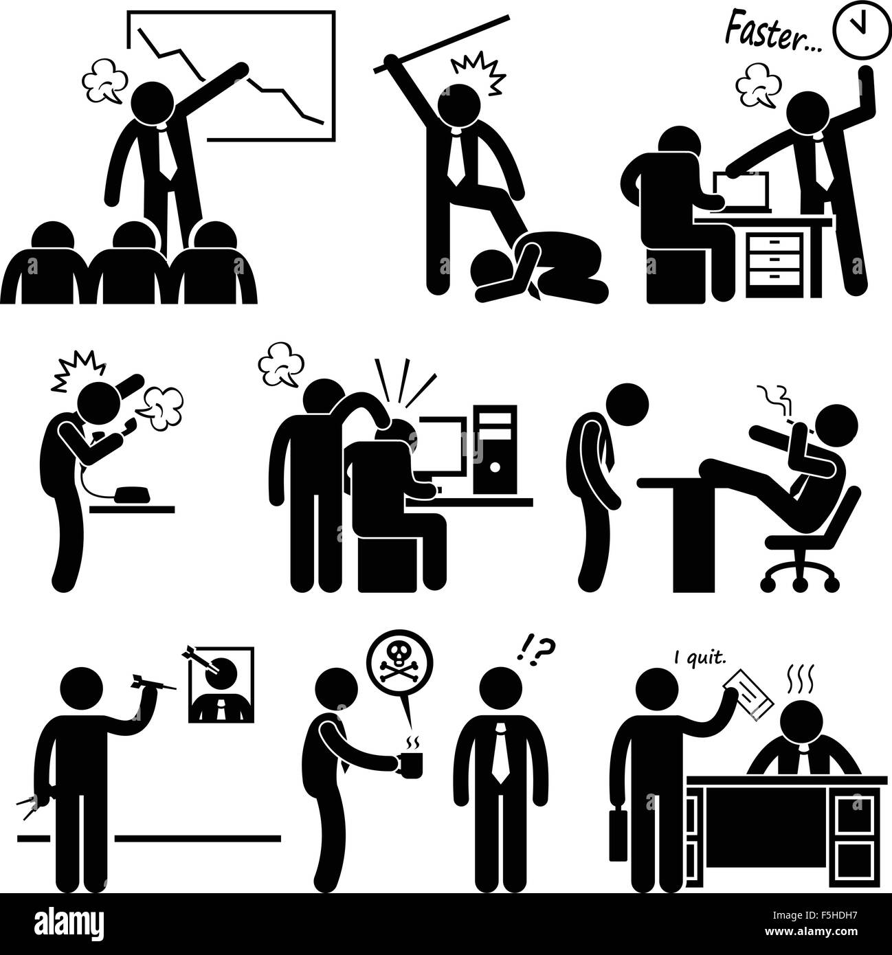 Angry Boss Abusing Employee Stick Figure Pictogram Icon - Stock Vector