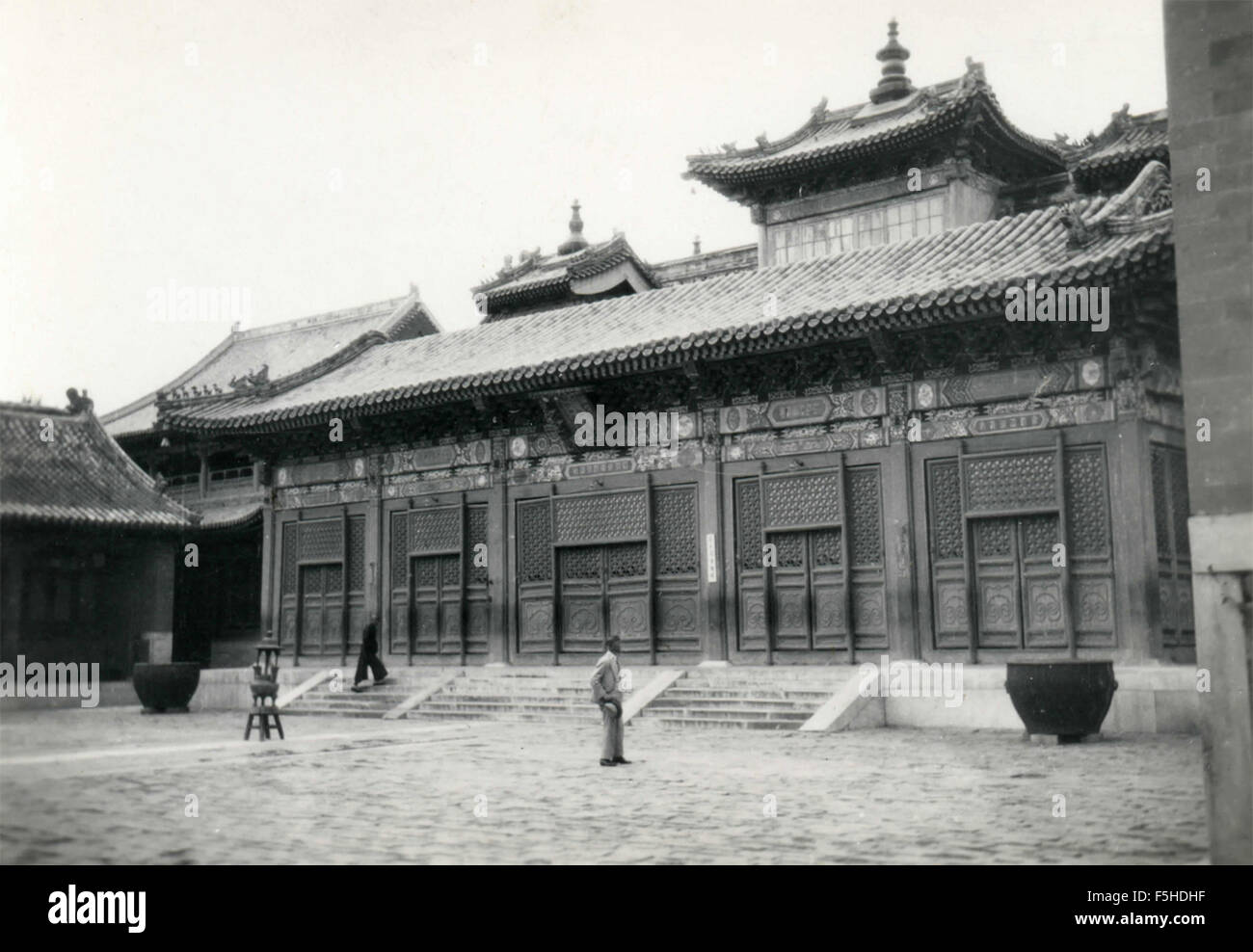 In one of the courtyards of the Lama Temple, Beijing, China - Stock Image