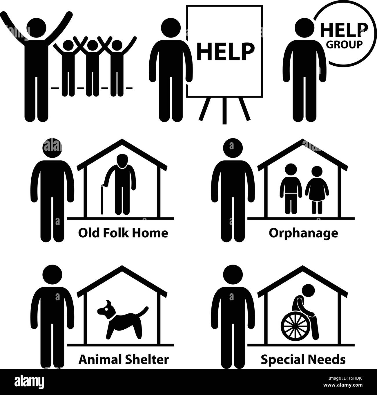 Non Profit Social Service Responsibilities Foundation Volunteer Stick Figure Pictogram Icon - Stock Image